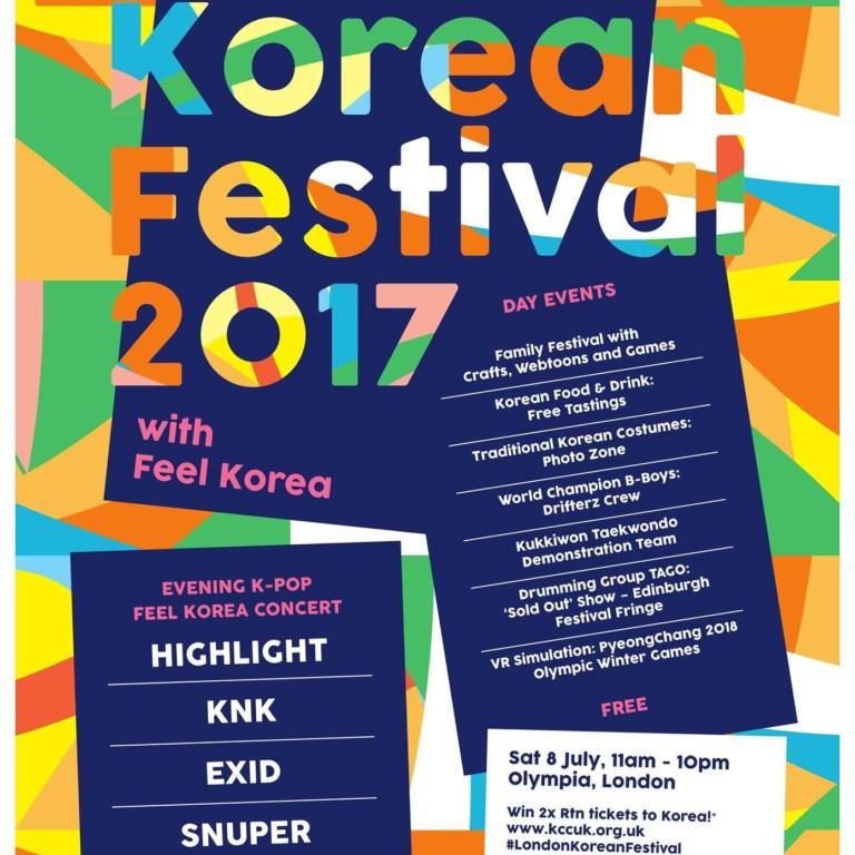 'LONDON KOREAN FESTIVAL in Olympia London' 8 July 2017 11.00 – 22.00