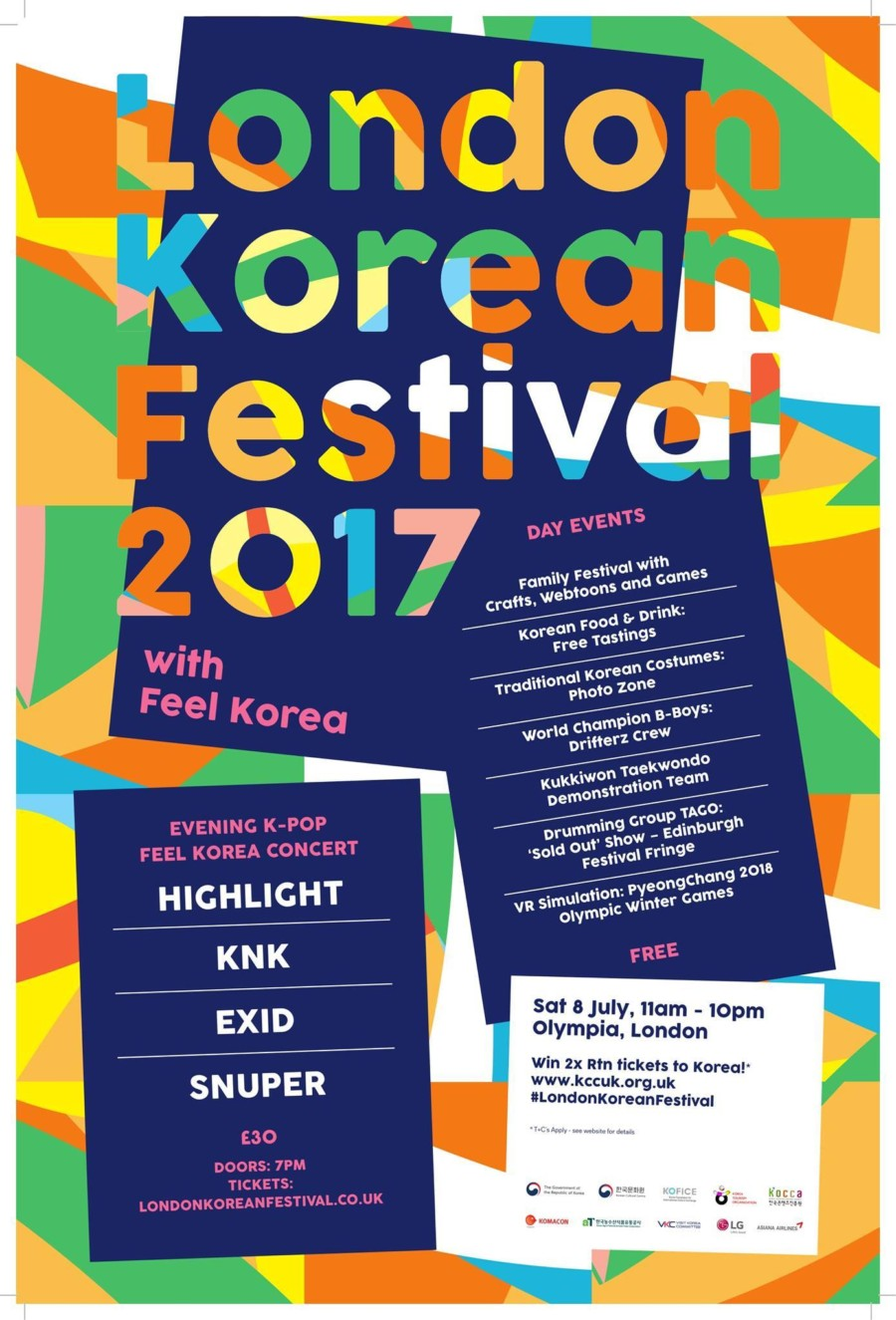 'LONDON KOREAN FESTIVAL in Olympia London' 8 July 2017 11.00 – 22.00